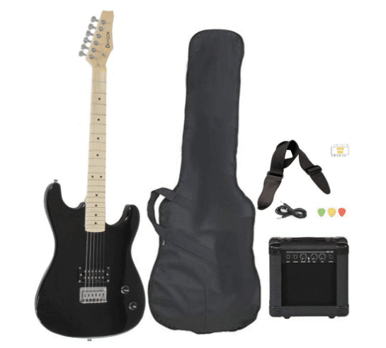 Full-Size Black Electric Guitar with Amp, Case and Accessories Pack