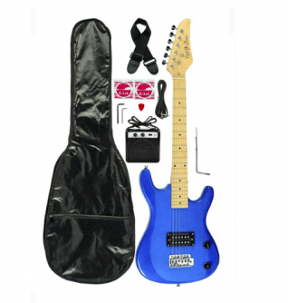 Metallic Blue Junior Kids Mini 3-4 Electric Guitar